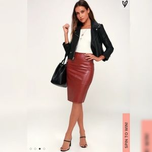 Lulus She's Irresistible Wine Red Pencil Skirt